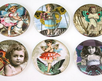 Whimsical Fairy Children - Set of 6 Large Fridge Magnets