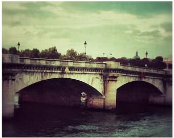 Paris Photography 8x 10 Seine River Bridge- Old & New Paris-Vintage Look-Paris Romance-Urban Architect Art
