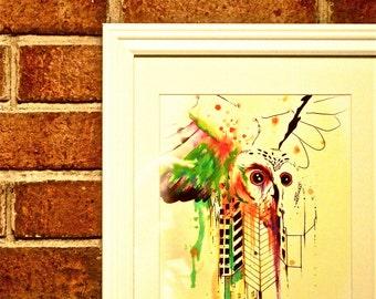Framed 8x10 Owl City Original Colorful Watercolor Bird Art Print