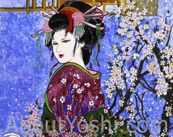 "Japanese Art -  Geisha ""Walk with Cherry Blossom"" 11 x 14 watercolor on cotton paper."