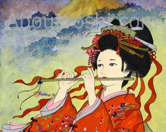 "Japanese Art -  Geisha ""Bamboo Flute""  11 x 14 watercolor on cotton paper."