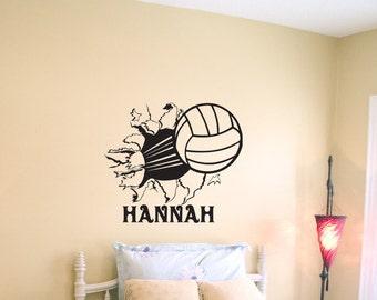 Volleyball Bursting Through Wall Vinyl Wall Decal Sticker Art