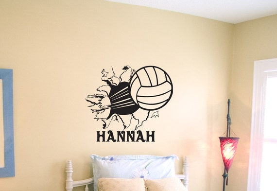 Volleyball Bursting Through Wall Large  X - Vinyl volleyball wall decals