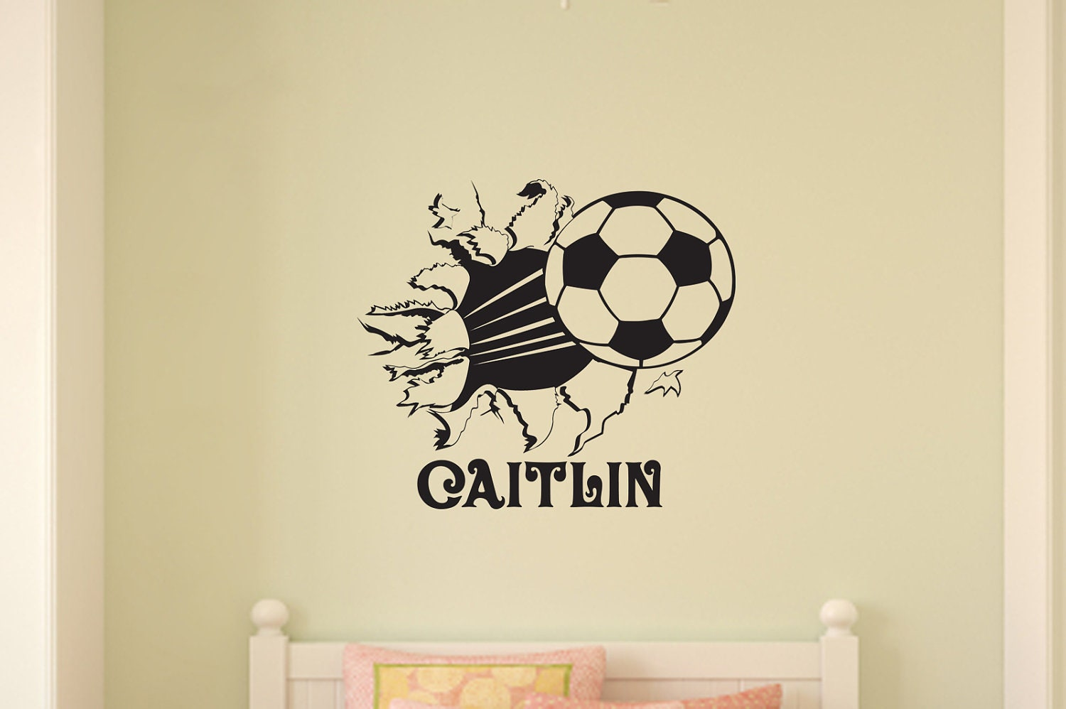 soccer ball bursting through wall vinyl wall decal sticker art