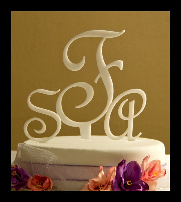 letter cake toppers custom monogram wedding cake topper three letter monogram 5506