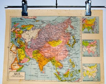 1940 Antique spanish political map of Asia