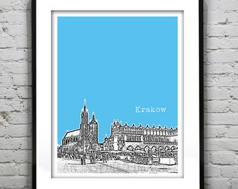 Krakow Poland Skyline Poster Art Print  Old Town