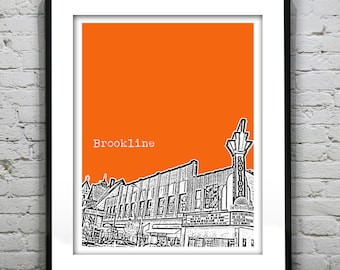 Brookline Massachusetts Skyline Poster Art Print  Coolidge Theatre MA