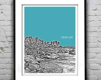Cancun Mexico Poster Art Skyline Print