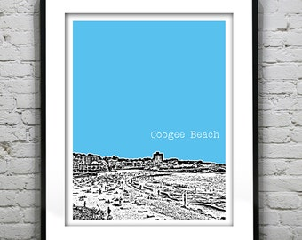 Coogee Beach New South Wales Australia Poster Art Skyline Print