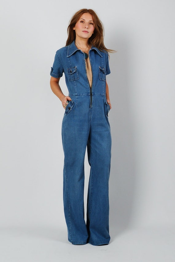 Vintage 70s Bell Bottom Denim Jumpsuit S S M Jean Wide Leg