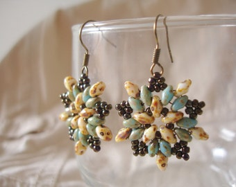 Turquoise Beige and Brown Beadwork Earrings Seed Bead Earrings Handmade Superduo Twin