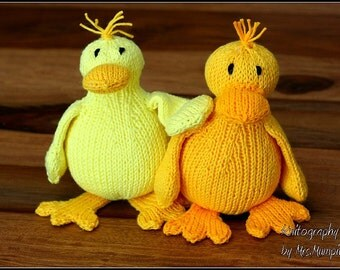 Duck knitting pattern, easy toy duck knitting pattern PDF download, cute DIY toy pattern