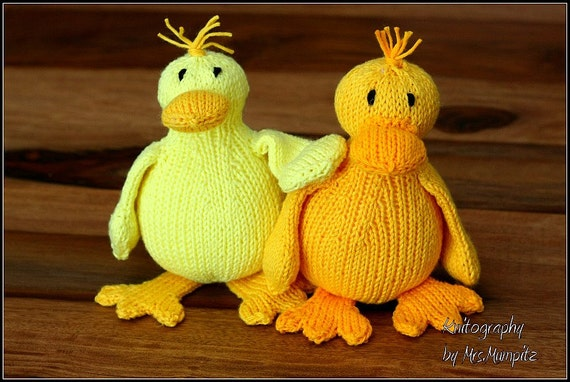 Knitting Pattern Duck Toy : Duck knitting pattern easy toy duck knitting pattern PDF