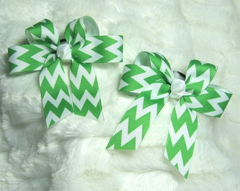 Green Apple/White Chevron Stripe Pattern Pigtail or Ponytail Girls Hair Bows  - Set of 2 Bows - Very Popular