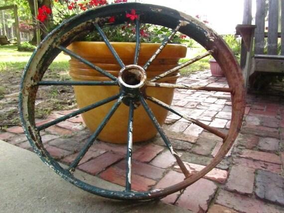 Antique Wagon Wheel Metal Wheel Iron Works Wall Hanging