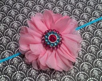 Newborn Headband - Pink Baby Headband - Rhinestone Headband - Aqua Skinny headband
