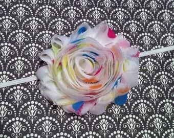 Newborn Baby Headband - White Colorful Party Dot Shabby Chiffon Flower - Skinny Elastic Headband