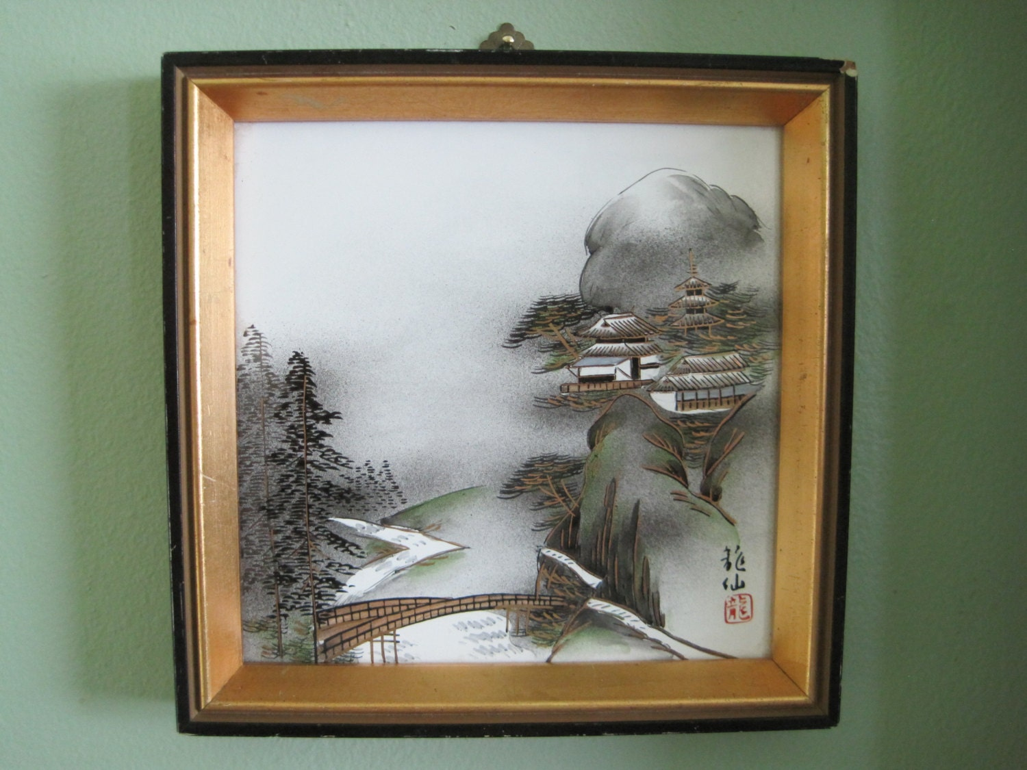 Asian wall art japanese painting framed on ceramic vintage for Asian wall art