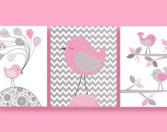 Grey and Pink Birds, Bird Nursery, Pink Birds, Girl Nursery Art, Cute Bird Art, Pink and Gray Nursery Art, Bird Canvas Art, Baby Girl Room