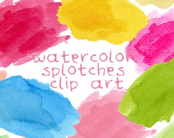 Watercolor Clip Art, Watercolor Splotches, Hand Painted