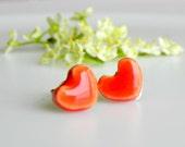 Tiny Orange Ceramic Earrings Shiny Post Earrings - LemoneRouge