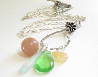 multi-stones charm necklace, teardrop gemstone necklace, silver chain necklace
