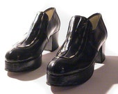 US 9 Mens Platform Shoes Stacy's Leather Herrenplateauschuhe Vintage 1970s NOS Deadstock