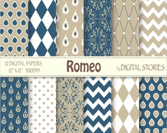 Blue Beige Drops Digital Scrapbook Paper Pack - Romeo - Instant Download