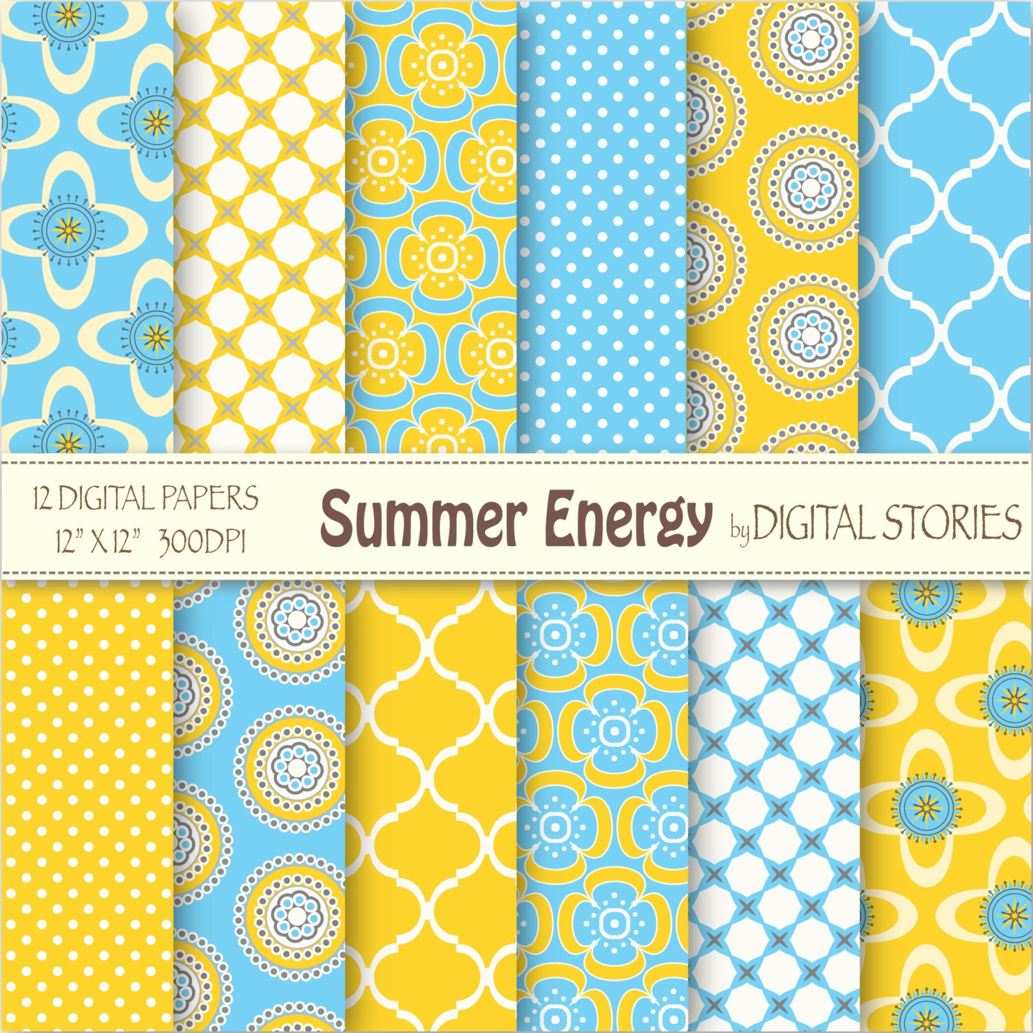 Moroccan Digital Paper Quot Summer Energy Quot Blue Yellow
