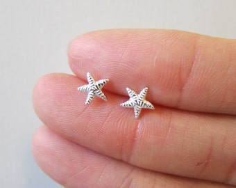 Tiny Sterling Silver Starfish Stud Earrings, Dainty Earring,Minimalist Jewelry