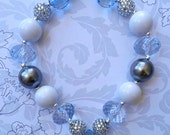 light blue, White,  Baby, Toddler, Girl Chunky Necklace, Bubblegum Necklace