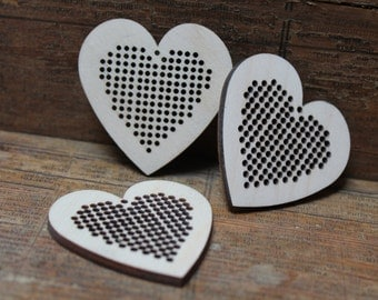 3 pcs Cross stitch pendant blank Heart  blanks Wood Needlecraft Pendant, Brooch, Necklace or Earring