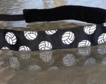 Volleyball Headband, Adjustable Non slip headband, black with Glitter Volleyball