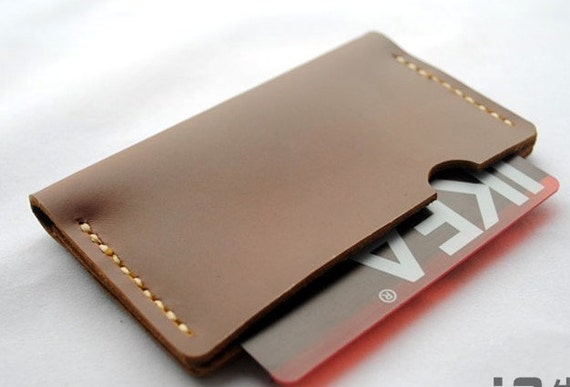 handmade wallet leather card holder wallet, Minimalist Credit card case for men women