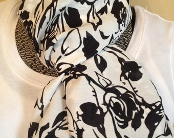 White with Black Rose or Flower Pattern Chiffon Infinity Circle Eternity Loop Scarf