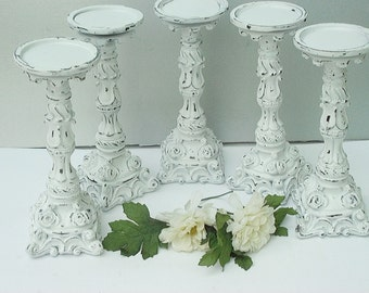Pillar Candle Holder Set of 5 White Satin Wedding Candles Shabby Home Decor