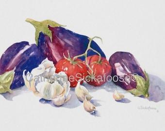 eggplant, tomatoes, garlic, still life, Anyone for Italian, fine art giclée