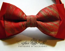 Red with gold bow tie gift for him or her, groom bow tie, groomsman bow tie, weddig bow tie