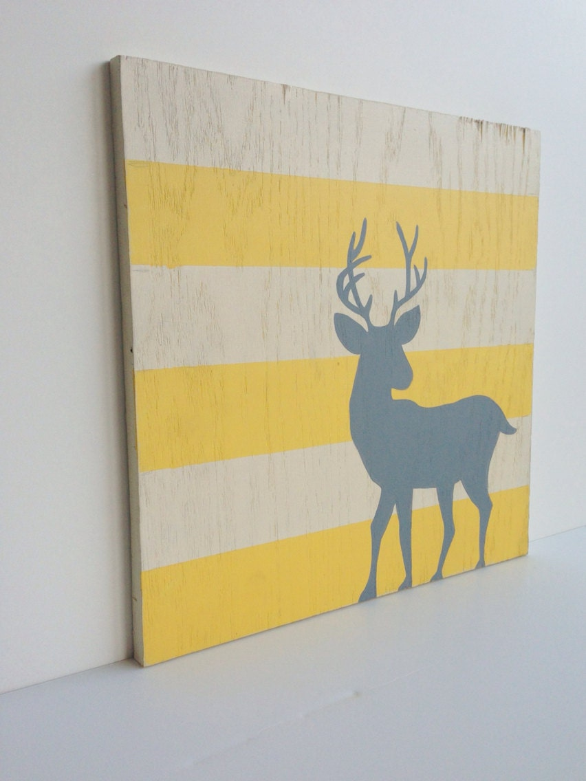 woodland animals nursery art deer painting wood wall decor. Black Bedroom Furniture Sets. Home Design Ideas