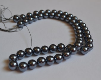 Blue Glass Pearls, Destash, Beads