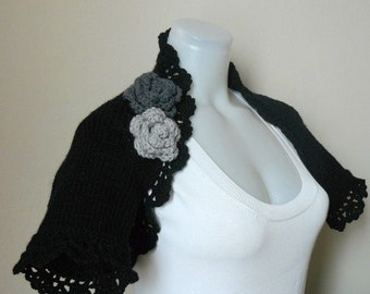 Black Shrug - Black Knit shrug bolero - black sweater - short sleeve knit sweater
