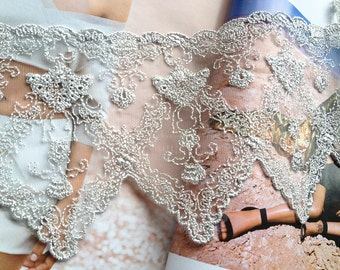 Silver Lace Trim, Tulle Lace,  Bridal Trim Lace, Embroidered Lace Fabric