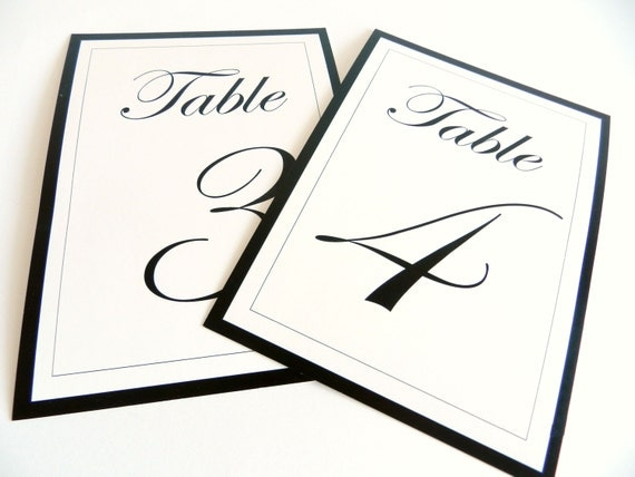 4x6 table tent template - wedding table numbers i elegant black and white by