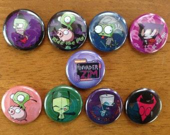 Invader Zim Buttons Pinback Buttons Set of 9 Invader Zim flair, Invader Zim, Geek, geekery,