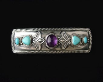 Sterling Silver Amethyst and Sleeping Beauty Turquoise Barrette ... Made to Order