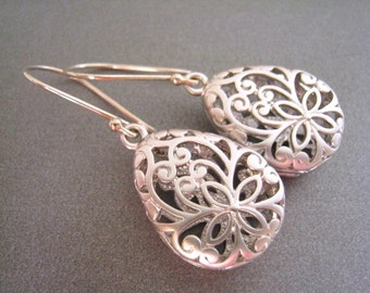 Silver Earrings, Paisley Teardrop Silver Earrings, Silver Filigree Earrings, Sterling Silver Wires