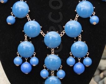 Blue Statement necklace bubble necklace Bib necklace Beaded Necklace blue jewelry for holiday Chunky Necklace Cluster Necklace