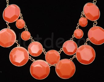 Orange Bubble necklace Choker Necklace Statement necklaces orange Jewelry gift Bib Necklace gift Chunky Necklace Beaded Jewelry