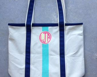 Hand-Painted Circle Monogrammed Boat Tote